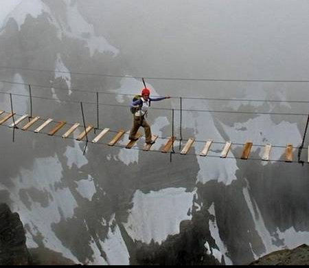 A Horrible Bridge Connecting The Two Mountains