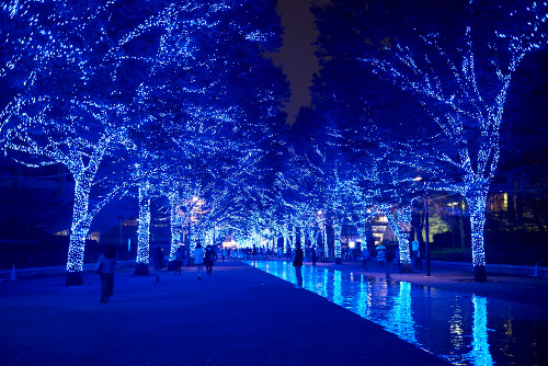Ao no Dokutsu. The blue tunnel in Shibuya, Japan