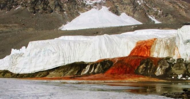 Antarctica has a waterfall, strangely enough, the water from the waterfall turns into a blood red color.