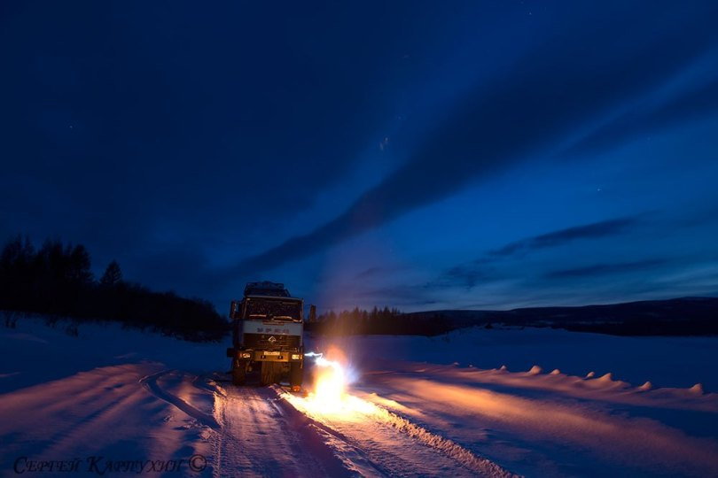 Lorry on a winter